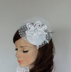 Bridal Cocktail Hat Blue Polka Dot Blue Tulle by MammaMiaBridal