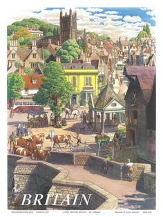 size: Giclee Print: Britain Village, Wall Art by S. Badmin : This exceptional art print was made using a sophisticated giclée printing process, which deliver pure, rich color and remarkable detail. 1950s Posters, Posters Uk, Railway Posters, Cool Posters, Poster Prints, Art Prints, Poster Vintage, Vintage Travel Posters, British Travel