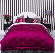 Permanent Link to : Black and White Strips Wall Decoration and Purple Bedcover