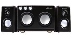 Eagle Tech 3-Way 2.1 Speaker (ET-AR514R-BK) (718122143641) High fidelity 3-way drivers reproduce full spectrum sound (20Hz to 20kHz) and low harmonic distortion (<=1%THD) Reinforced drivers and acoustically tuned wooden enclosures deliver high output with great stereo imaging Subwoofer-mounted control for master volume, bass, treble, karaoke volume and echo, 6.35mm microphone input jacks Satellites measure 5.6 x 5.6 x 9.8 inches and subwoofer measures 13.9 x 13.2 x 10.9 inches Package ...