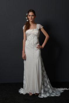 Wedding dress,A line,vintage,silk,muslin,satin,lace,crystals,handmade