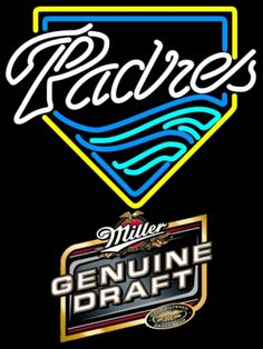 Miller Genuine Draft San Diego Padres MLB Neon Sign 3 0001, Miller MGD with MLB Neon Signs | Beer with Sports Signs. Makes a great gift. High impact, eye catching, real glass tube neon sign. In stock. Ships in 5 days or less. Brand New Indoor Neon Sign. Neon Tube thickness is 9MM. All Neon Signs have 1 year warranty and 0% breakage guarantee. Sports Signs, Golf Stores, Beer Signs, San Diego Padres, Sports Fan Shop, Mlb, Neon, Bright Lights, Handmade Art