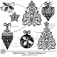 Elegant Christmas Digital Stamps - Christmas Tree graphic, Vintage ornaments, star, holly clip art, graphics, black and white - digi stamps for Christmas Cards and Lay Outs.   Free Printables, Free Graphics, Free Kits, Free Digital Clip Art, Graphics and Backgrounds for Scrapbooking, Gina Jane Designs - DAISIE Company