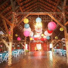 Add a pop of color to your big day with fresh, carnival-theme accents. Brides are going bold with bright colors and fun big-top games. Photo credit: Nashan Photographers.