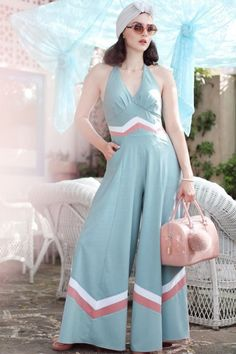 Miss Candyfloss TopVintage Exclusive Jumpsuit in Sky Blush 133 30 18012 21