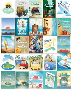 Free Printable-25 Vacation Stickers For Your Happy Planner or Erin Condren Planner