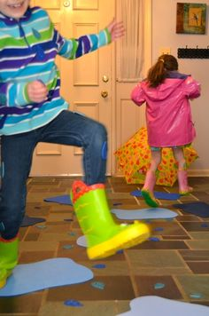 WEEK 8 Indoor Puddle Jumping-what a great way to keep kids active (and dry) on a rainy day Preschool Weather, Rainy Day Activities, Spring Activities, Indoor Activities, Preschool Activities, Nanny Activities, Weather Crafts, Gross Motor Activities, Gross Motor Skills