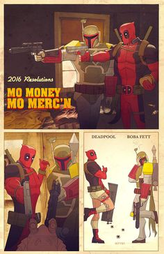 "Deadpool and Boba Fett in ""Mo Money Mo Merc'n"" Art — GeekTyrant"