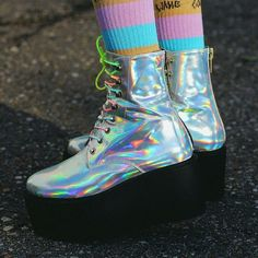 Find images and videos about boots, cyber and holographic on We Heart It - the app to get lost in what you love. Shiny Shoes, Funky Shoes, Crazy Shoes, Kawaii Fashion, Cute Fashion, Holo Shoes, Iridescent Clothing, Holographic Fashion, Space Grunge