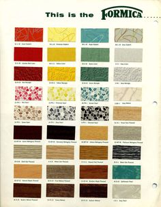 Sample Formica Laminates - THIS is what I'm going to use for my kitchen counters.with metal trim. Mid Century Decor, Mid Century House, Mid Century Style, Vintage Colors, Retro Vintage, Vintage Style, Formica Colors, Living Vintage, Vintage Caravans