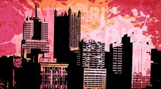 Pop City 15 by Melissa Smith – Urban Art District. | Paint splatters and textures combine with urban scenes to create modern and interesting pieces of art.  Hang as a stand-alone print or order a couple and display as a stylish grouping.  Either way, your guests will fall in love with your artistic insight.  SHARE if you ♥ it!