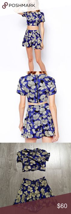 Blue floral crop top and short set Matching crop top and short set. Blue with floral print. Zip closure on both crop top and shorts. Super comfortable. Asos Other