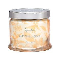 Moonlight, where nighttime woods hang with the blooms of verbena and jasmine mingling with touches of lemongrass and green apple aromas. Burn time: 25-45 hours. $27.00 each http://www.partylite.biz/legacy/sites/juliehoyman/productcatalog?page=productdetail&name=Moonlight+3-Wick+Jar+Candle&sku=G73B897&categoryId=58969&showCrumbs=true
