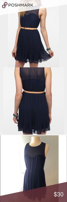UO Pins & Needles Chiffon-Top Pleated Dress So cute! Navy dress with sweetheart neckline and pleated skirt. Side zip. Belt not included - just shown for styling purposes. Reposh I bought to wear to wedding I ended up being a bridesmaid in and never wore. EUC Urban Outfitters Dresses
