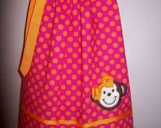 Cute Monkey Pillowcase Dress Hot Pink Tangerine Orange Dots Girls Infant Toddler Custom Boutique Spring Summer