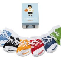 A boy's never too young for sneakers - especially when they're this comfy. These cotton, lycra and spandex baby socks are printed to look like those classic kicks every guy lives in, complete with real shoelace ties and non-skid bottoms. A selection of 6 pairs - in a range of colors packaged in a...