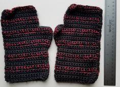 Handmade Black and Metallic Red Stripe Fingerless Gloves