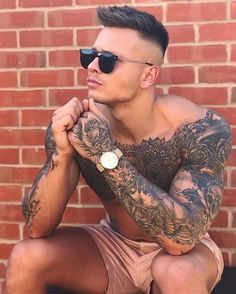 22 Badass Tattoos For Men Stylish Short Haircuts, Haircuts For Men, Hairstyles Men, Hot Tattoos, Body Art Tattoos, Mens Hand Tattoos, Half Sleeve Tattoos For Men, Tatoos, Full Arm Tattoos