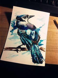 Blue Bird watercolor