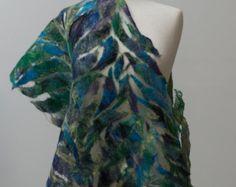 Silk and Wool Nuno-Felted Shawl Nuno Felt Scarf, Felted Scarf, Fine Art Textiles, Silk Wool, Nuno Felting, Fabric Art, Shawl, Tie Dye, Scarf Ideas