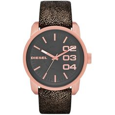 Diesel Watch, Women's Black Metallic Distressed Leather Strap 46mm... (375 BRL) ❤ liked on Polyvore featuring jewelry, watches, logo watches, metallic jewelry, quartz movement watches, stainless steel watches and diesel jewelry