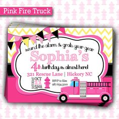 Stop, Drop, and roll on over to a little girly firefighters birthday party! Celebrate your next birthday in style with this cute pink fire truck