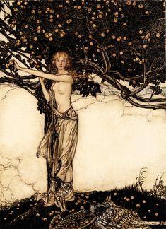 Arthur Rackham - Freya, 1910. Illustration to Wagner's Das Rheingold