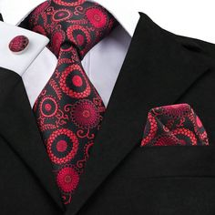 Red Medallion - w/ Pocket Square & Cufflinks