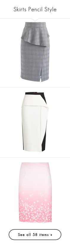 """""""Skirts Pencil Style"""" by shamrockclover ❤ liked on Polyvore featuring skirts, grey, checkered skirt, ruffle skirt, flouncy skirt, knee length pencil skirt, flounce skirt, multicolored, frilly skirt and white knee length pencil skirt"""