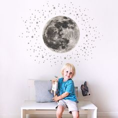Koko Kids Moon & Stars Fabric Wall Decal ~ for Baby Nursery and Children's Rooms. Made of Fabric, not Vinyl, Free from BPA & Phthalates. (for Pale Walls (Grey Stars))