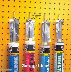 Cheap Workshop Storage Solutions You Can DIY - - Tame the clutter and work smarter with these ingenious (and inexpensive!) workshop DIY storage tips. Garage Workshop Organization, Pegboard Organization, Workshop Storage, Diy Workshop, Organizing Ideas, Hang Pegboard, Diy Storage Shed, Garage Storage Solutions, Storage Hacks