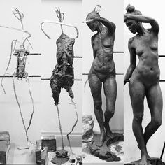 "1,054 Likes, 17 Comments - Eirik Arnesen (@eirik_arnesen_art) on Instagram: ""The progression (from left to right..) of a life-size figure. Quite the task! I'll do one again…"""