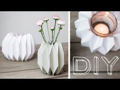 DIY - geometrische Vase & Windlicht im Origamidesign falten - YouTube