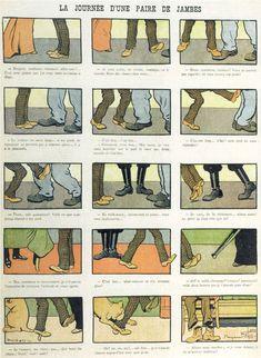 Benjamin Rabier, « La journée d'une paire de jambes », La Jeunesse illustrée, n° 269, 19 avril 1908.