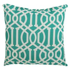 Throw pillow for couch - beach themed living room.  would need 4?  Pillow Turq Lattice