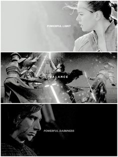 Two halves of the dark and the light. The resolving of the gray. The balance.#reylo#kylo x rey