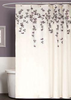 TRIANGLE HOME FASHIONS Flower Drop Shower Curtain Grey Bathrooms Curtains