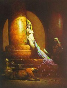 EGYPTIAN QUEEN Frank Frazetta Vintage Art 1969 Full Color Plate Fantasy GGA Nude #Vintage