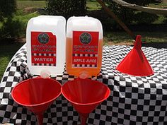 car party fill up.  Cute idea for drinks. Hot Wheels Birthday, Hot Wheels Party, Race Car Birthday, 2nd Birthday, Birthday Ideas, Car Themed Parties, Cars Birthday Parties, Transportation Party, Disney Cars Party