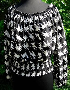 Michael by Michael Kors silk peasant blouse Houndstooth Black and White Med EUC #MichaelKors #PeasantBlouse