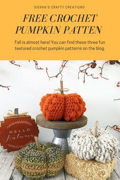 Free crochet pattern for these 3 fun textured pumpkins. Thanksgiving Crochet, Holiday Crochet, Crochet Home, Crochet Yarn, Free Crochet, Crochet Pumpkin Pattern, Easy Crochet Patterns, Crochet Patterns Amigurumi, Crochet Ideas