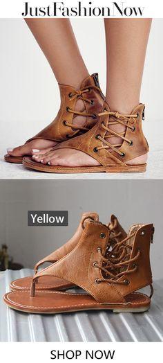 6fcd1f4442  19.89 Lace-up PU Flip-flops Sandals with Zipper Cute Sandals