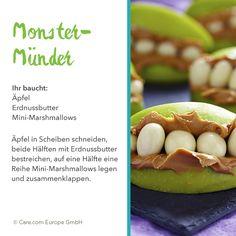 Monstermund aus Apfel Monster Snacks, Mini Marshmallows, Halloween, Partys, Avocado, Fruit, Harry Potter, Food, Recipe