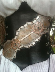 Industrialized Leather Steampunk underbust corset by CowCarvers, $225.00