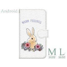 ハンドメイドマーケット minne(ミンネ)| Android用!【送料無料】花とうさぎ 手帳型スマホケース M・Lサイズ