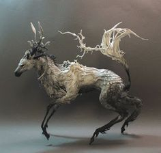 surreal animal sculptures by ellen jewett blend the world of fantasy and reality Art Sculpture, Animal Sculptures, Organic Sculpture, Fantasy Creatures, Mythical Creatures, Ellen Jewett, Illustration Art, Illustrations, 3d Models