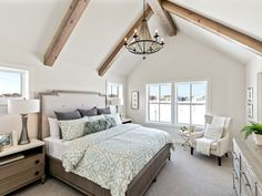A beautiful vaulted ceiling with beams in this master bedroom from Robert Thomas. A beautiful vaulted ceiling with beams in this master bedroom from Robert Thomas Homes Master Bedroom Interior, Master Bedroom Closet, Farmhouse Master Bedroom, Bedroom Decor, Master Bedrooms, Bedroom Ideas, Vaulted Ceiling Bedroom, Chandelier Bedroom, Ceiling Beams