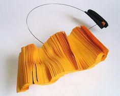 paper jewelry by Daniele Papuli Paper Jewelry, Jewelry Art, Jewelry Design, Paper Beads, Yellow Jewelry, Italian Jewelry, Textiles, Neck Piece, Contemporary Jewellery