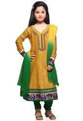 Yellow Art Chanderi Silk Readymade Anarkali Churidar Kameez