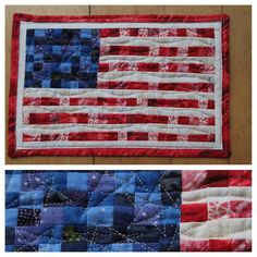 """Hope everyone had a wonderful #memorialday ❤️⚽️ (some #futbol for us! Yay!) ❤️⚽️ #americanflag #mugrug I made for my dad in 2013. He's a #Vietnamwar era Navy vet. #lovehim #soproud #veterans #usa #america  It is 260 1""""inch squares and finished at 8.5"""" x 12"""" #quiltsbeforeinstagram #quiltmath"""